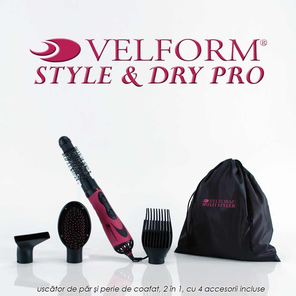 Velform Style & Dry Pro - uscator de par si perie de coafat, 2 in 1, cu 4 accesorii incluse