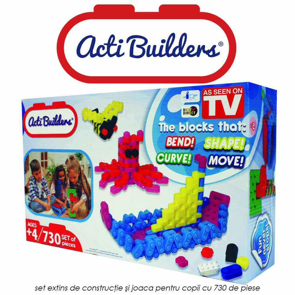 Acti Builders Deluxe - set de constructie si joaca pentru copii cu 730 de piese