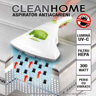 CleanHome - aspirator antiacarieni cu filtru HEPA si lampa UV-C