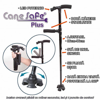 Cane Safe Plus - baston avansat pliabil cu maner secundar, led si 4 puncte de contact