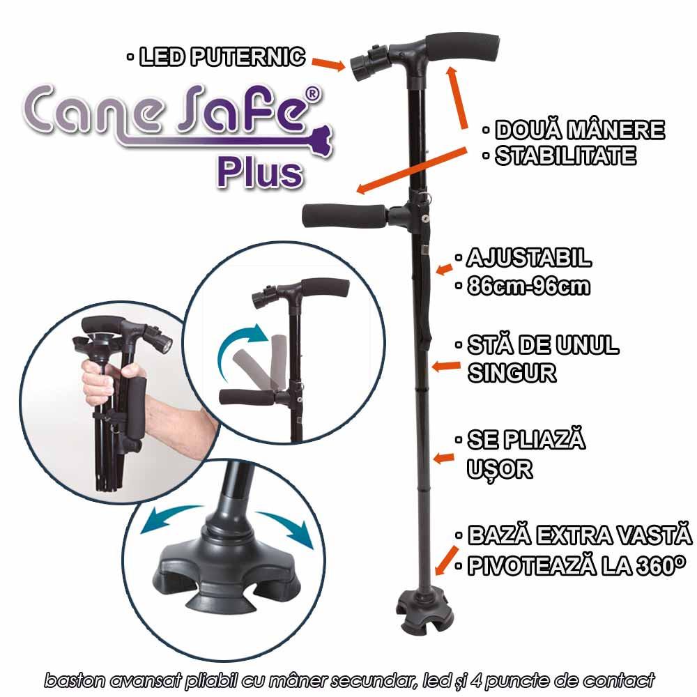 Cane Safe Plus - baston avansat pliabil cu maner secundar, led si 4 puncte de contact