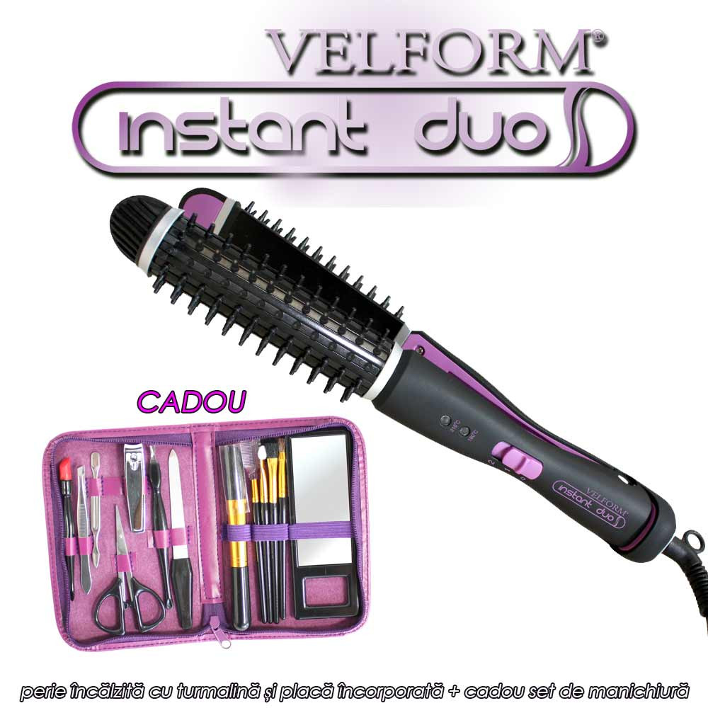 Velform Instant Duo - perie incalzita cu turmalina si placa incorporata + cadou set de manichiura