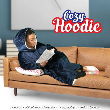 Cozy Hoodie - combinatie de hanorac supradimensionat cu gluga si patura pufoasa din material extrem de calduros