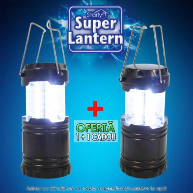 Starlyf Super Lantern - felinar cu 30 LED-uri, lumineaza 360 de grade, cu baza magnetica si rezistent la apa 1+1 cadou