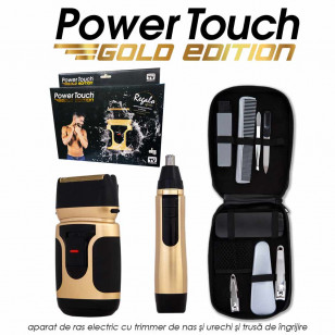 Power Touch Gold Edition - aparat de ras electric cu trimmer de nas si urechi si trusa de ingrijire