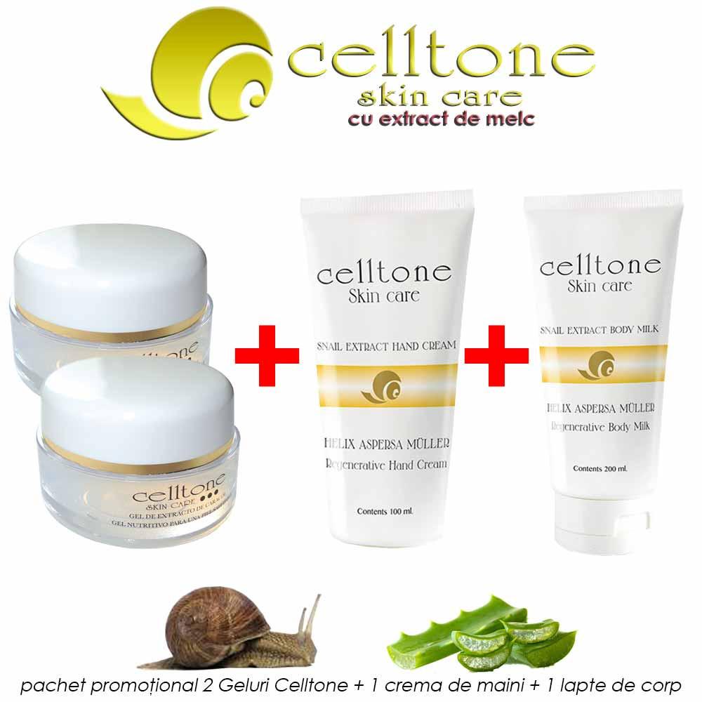 Pachet PROMO: Celltone 2 geluri + 1 lapte de corp + 1 crema de maini