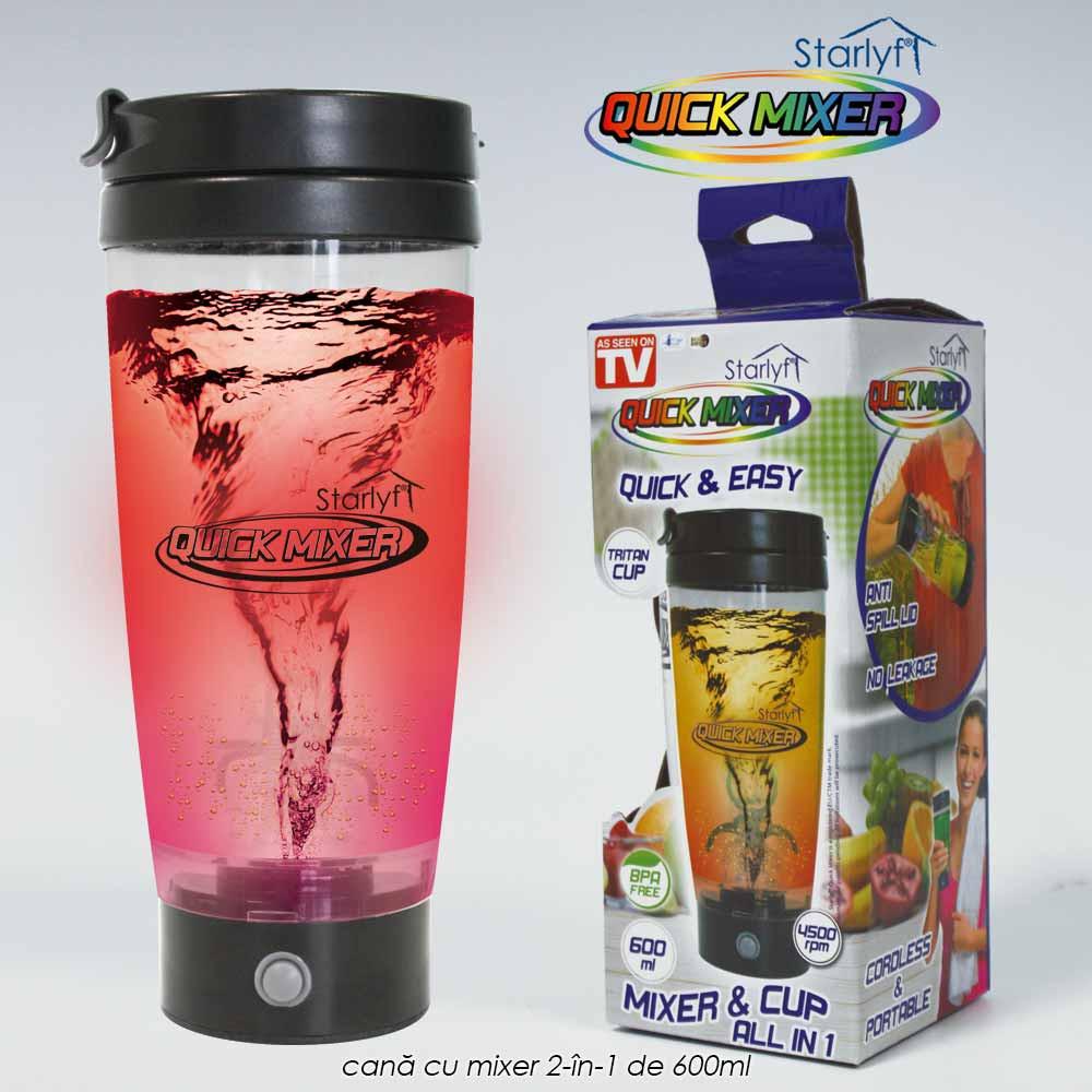 Starlyf Quick Mixer - cana cu mixer 2-in-1 de 600ml, portabil cu capac impotriva stropirii