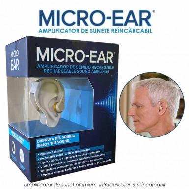 Micro Ear - amplificator de sunete premium, intraauricular si reincarcabil 1+1 gratis