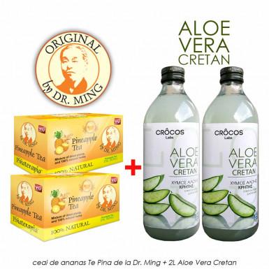 Pachet PROMO: Ceai Te Pina Dr Ming + 2L Suc Aloe Vera Cretan