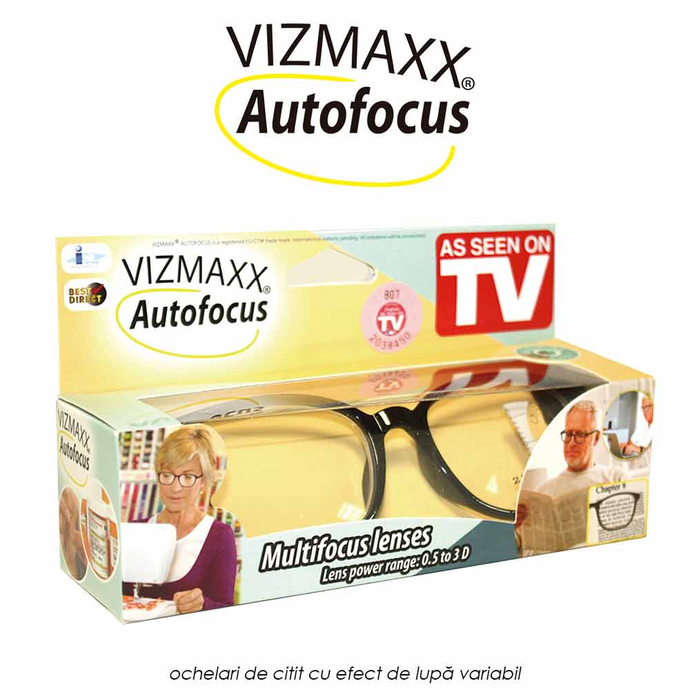 Vizmaxx Autofocus - ochelari de citit cu efect de lupa variabil de la 0.5 la 2.75