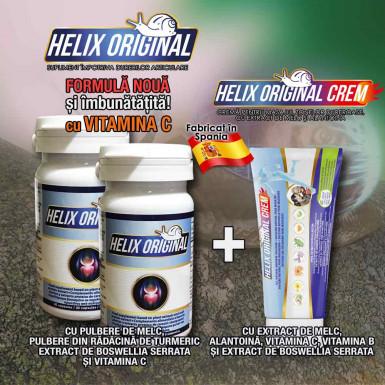 Pachet PROMO: capsule si crema Helix Original - supliment si crema impotriva durerilor articulare cu extract de melc si plante