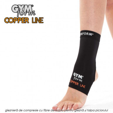 Gymform Copper Line - glezniera de compresie cu fibre de cupru pentru glezna si talpa piciorului