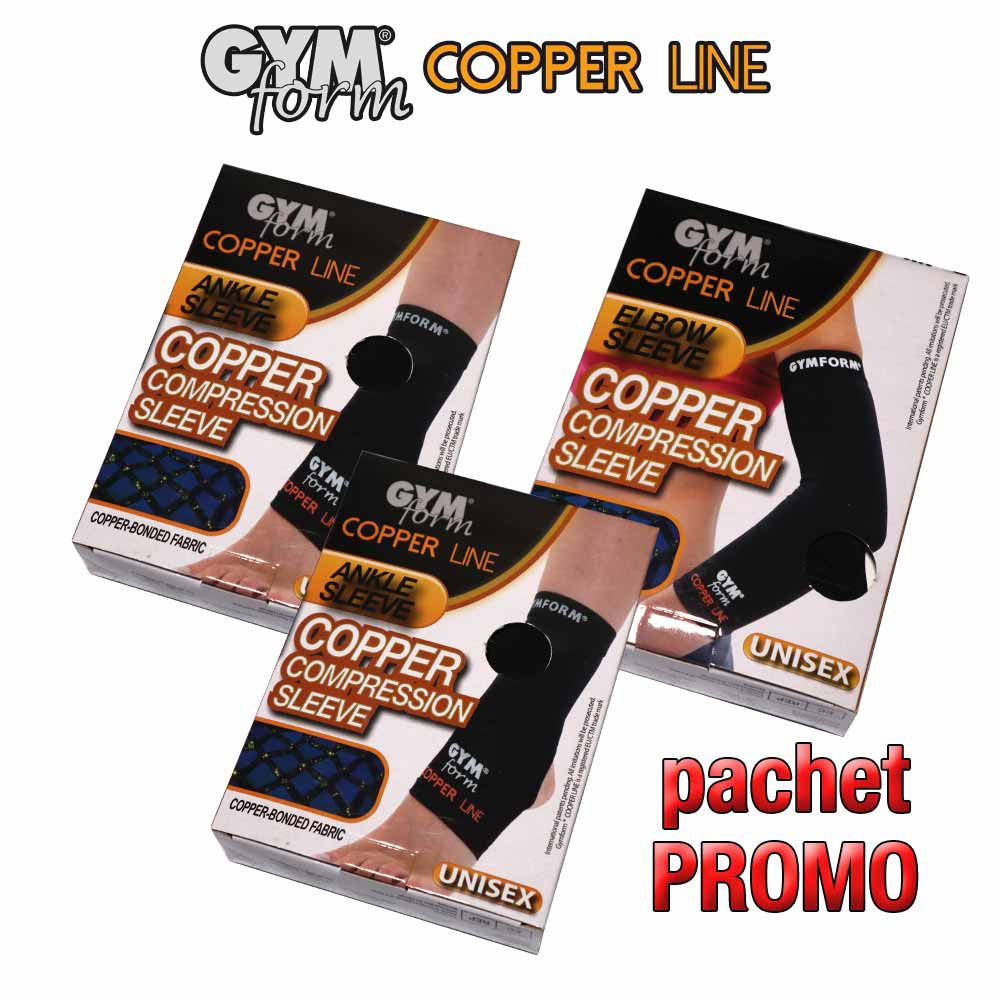 Pachet PROMO: 2 Gymform Copper Line pentru glezna + 1 maneca pentru cot