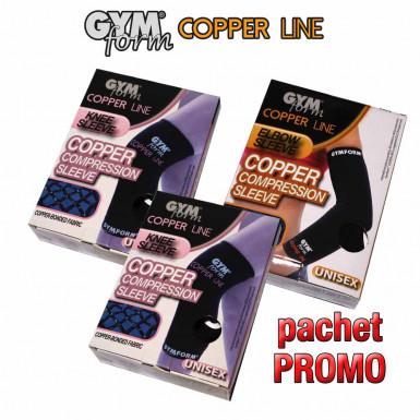 Pachet PROMO: Gymform Copper Line cu  2 maneci de compresie pentru genunchi + 1 maneca pentru cot