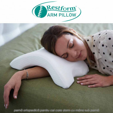 Restform Arm Pillow - perna ortopedica din spuma cu memorie pentru cei care dorm cu mana sub perna