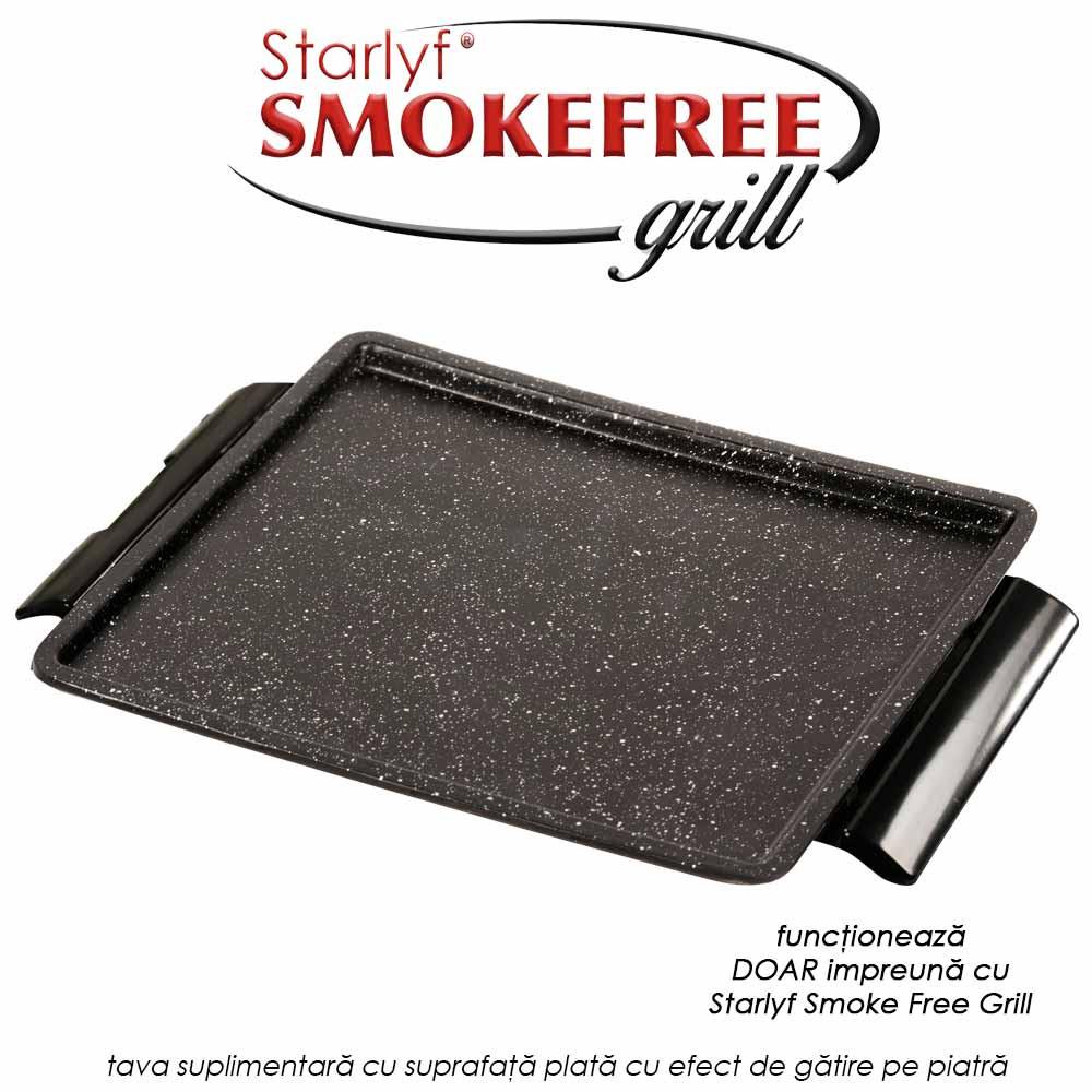 Tava suplimentara cu suprafata plata cu efect de gatire pe piatra pentru Starlyf Smoke Free Grill