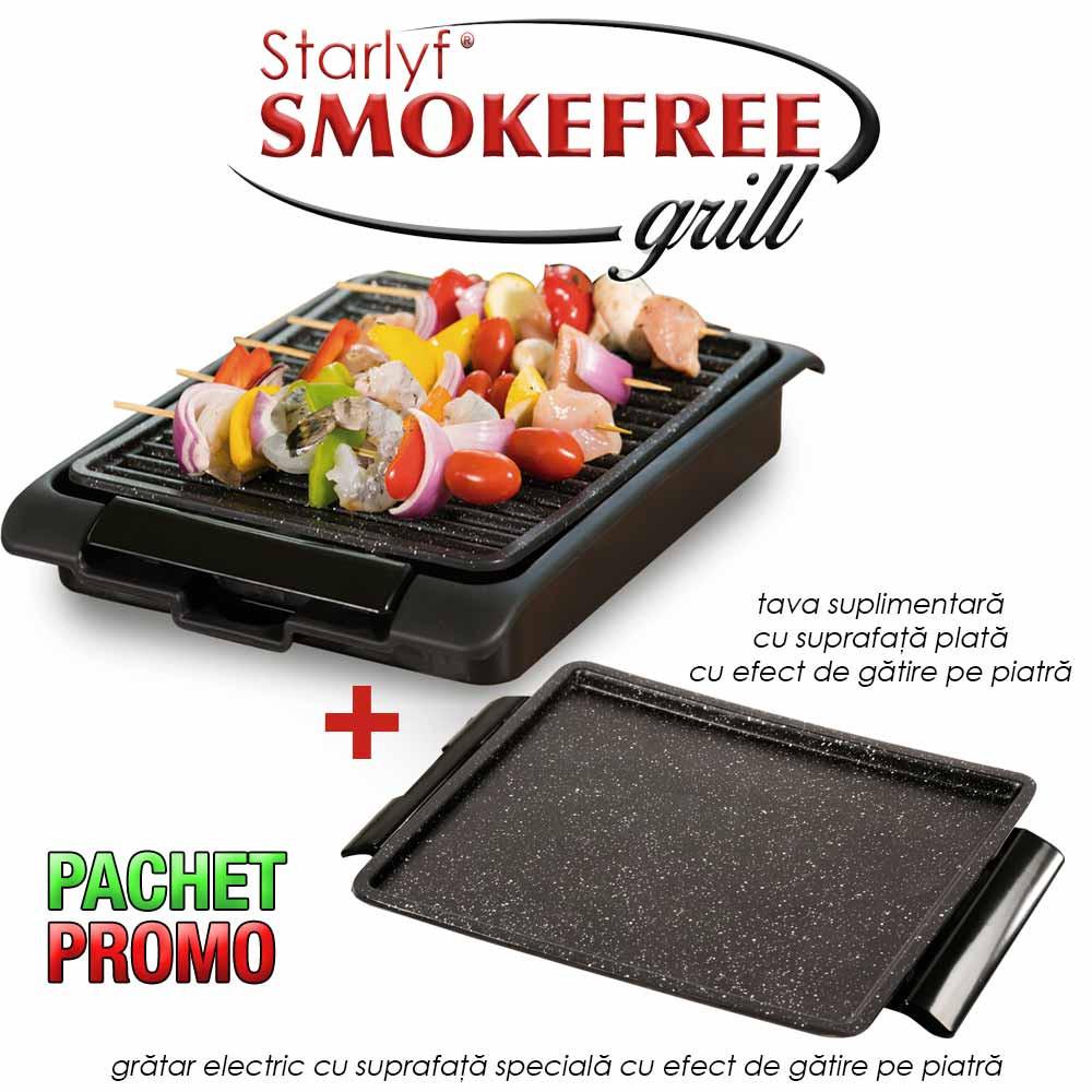 Pachet PROMO: Starlyf Smoke Free Grill + Tava plata cu efect de gatire pe piatra