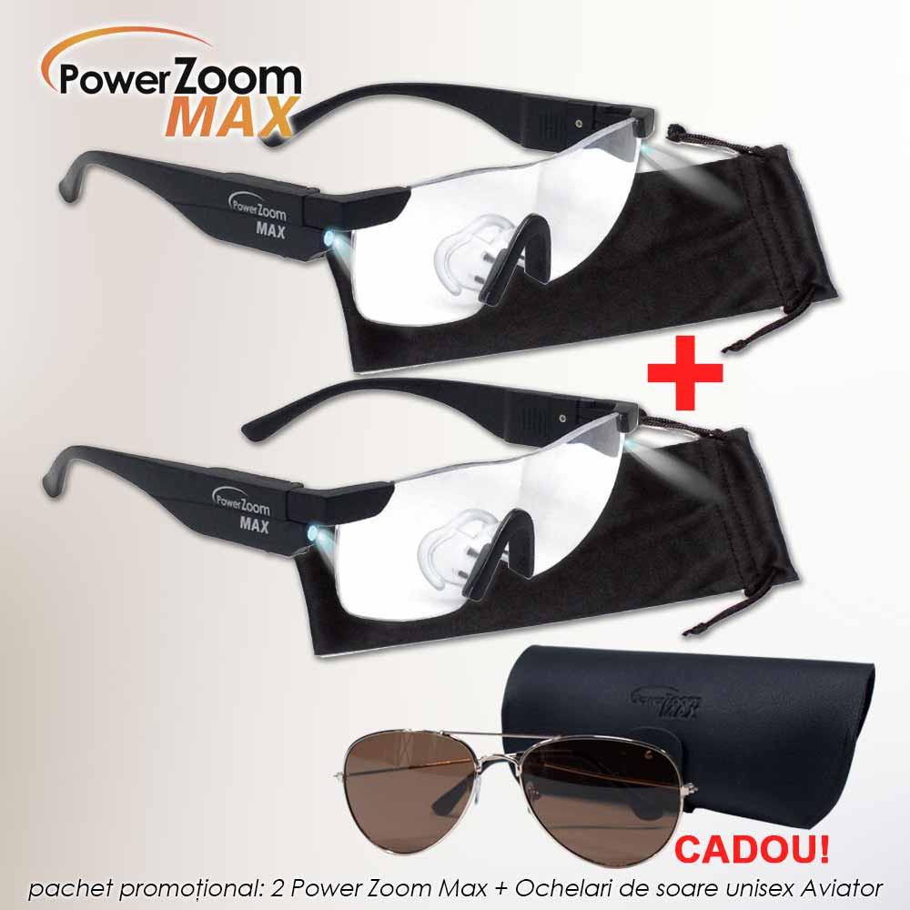 Pachet PROMO: 2 Power Zoom Max + Ochelari de soare unisex aviator
