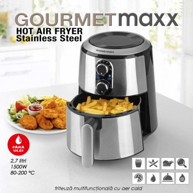 GourmetMaxx Hot Air Fryer Inox Original - friteuza multifunctionala cu aer cald