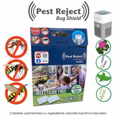 Pest Reject Bug Shield Rezerve: 2 tablete suplimentare cu ingrediente naturale impotriva insectelor