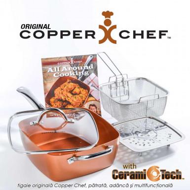 Copper Chef Original - tigaie patrata adanca multifunctionala, antiaderenta, acoperita cu ceramica de calitate, set 4 piese