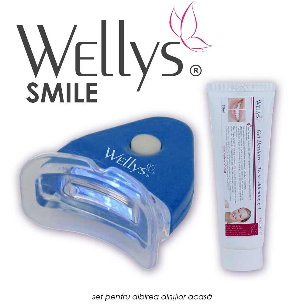 Wellys Smile - set pentru albirea dintilor acasa, tratament cu aparat de lumina si gel de albire