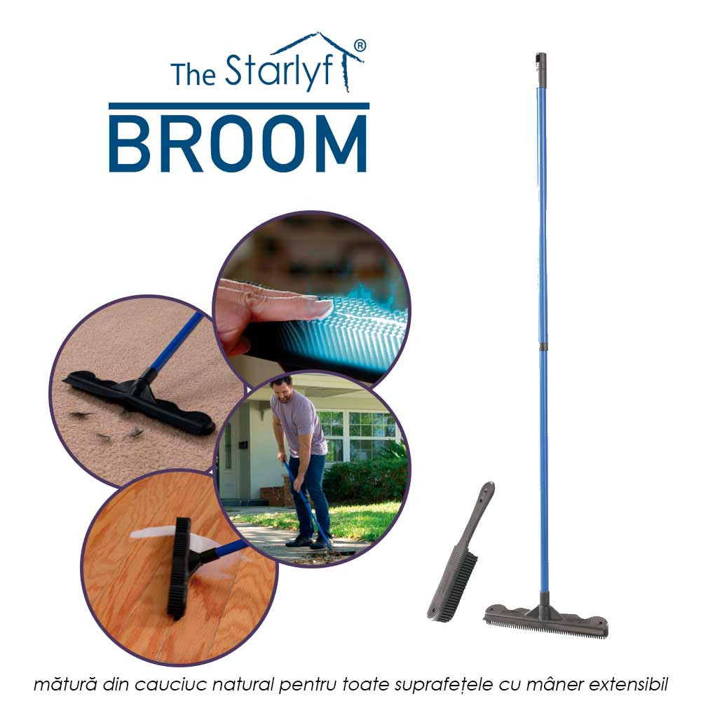 Starlyf Broom - matura din cauciuc natural pentru toate suprafetele cu maner extensibil