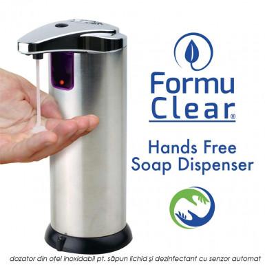 FormuClear Hands Free Soap Dispenser - dozator din otel inoxidabil pentru sapun lichid si dezinfectant cu senzor automat