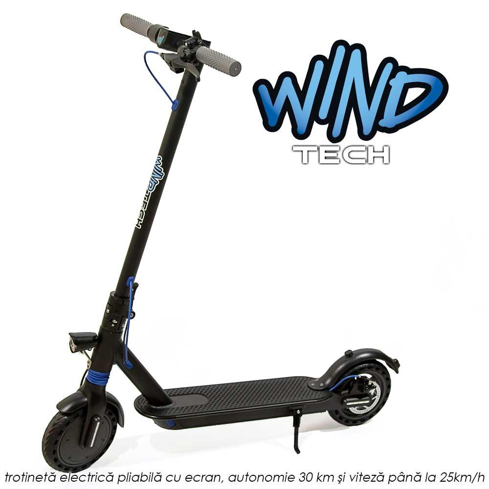 Wind Tech - trotineta electrica pliabila cu ecran, autonomie 30 km, putere motor 350W, viteza pana la 25km pe ora, lumina LED