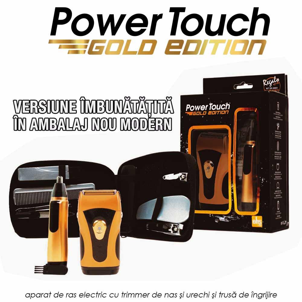 Power Touch Gold Edition - aparat de ras electric cu trimmer de nas si urechi si trusa de ingrijire