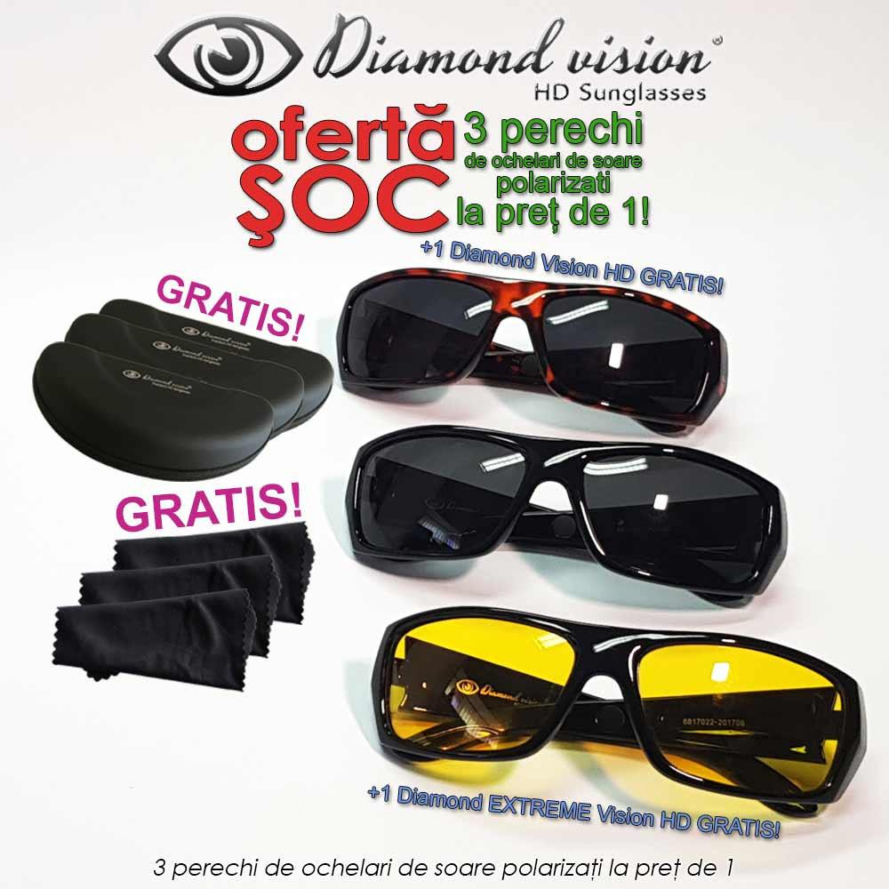 Diamond Vision HD - 3 perechi de ochelari de soare polarizati la pret de 1