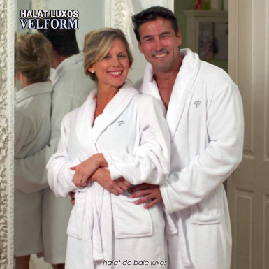 Velform Bathrobe - halat de baie pufos si luxos, alb, pentru barbati si femei